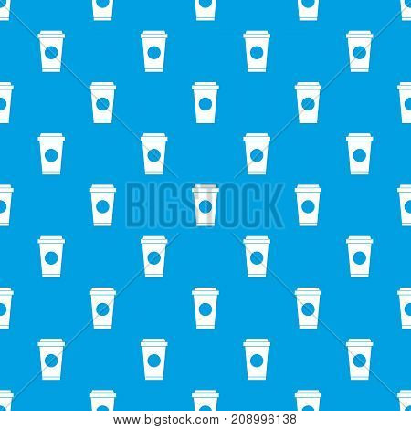 Coffee in take away cup pattern repeat seamless in blue color for any design. Vector geometric illustration
