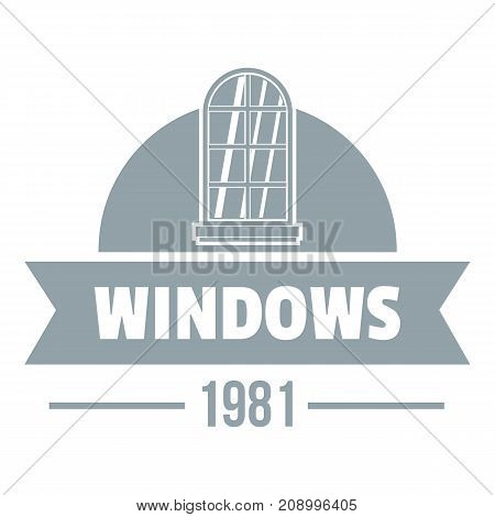 Modern window logo. Gray monochrome illustration of modern window vector logo for web