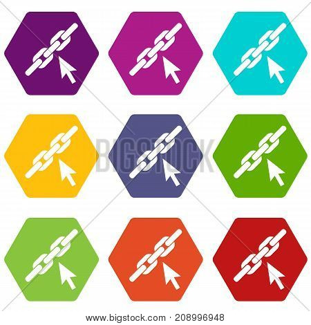 Chain link icon set many color hexahedron isolated on white vector illustration