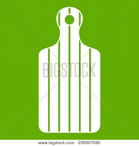 Cutting board icon white isolated on green background. Vector illustration