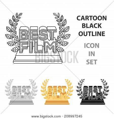 Golden statue with a wreath and inscription.The prize for best film.Movie awards single icon in cartoon style vector symbol stock web illustration.