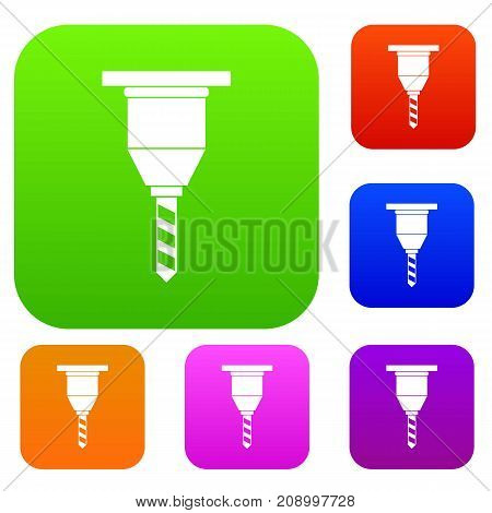Drill bit set icon color in flat style isolated on white. Collection sings vector illustration