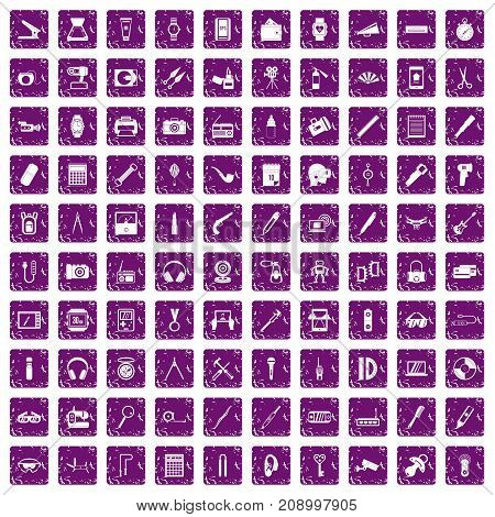 100 portable icons set in grunge style purple color isolated on white background vector illustration