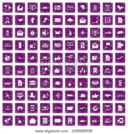 100 post and mail icons set in grunge style purple color isolated on white background vector illustration