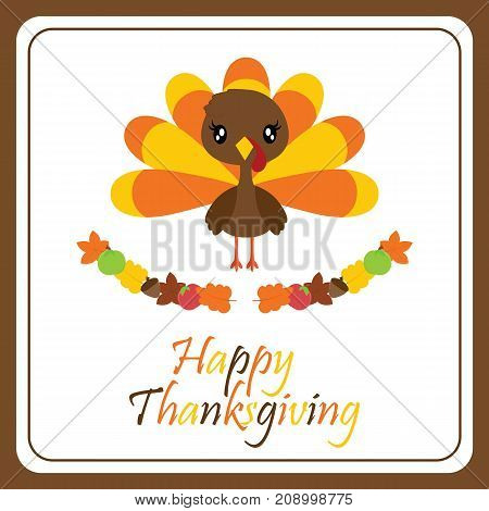 Cute turkey girl and maple leaves wreath vector cartoon illustration for thanksgiving's day card design, wallpaper and greeting card