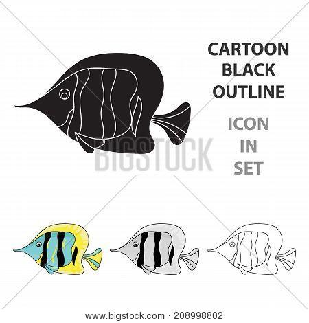 Angel fish icon in cartoon design isolated on white background. Sea animals symbol stock vector illustration.