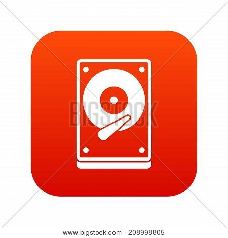 HDD icon digital red for any design isolated on white vector illustration