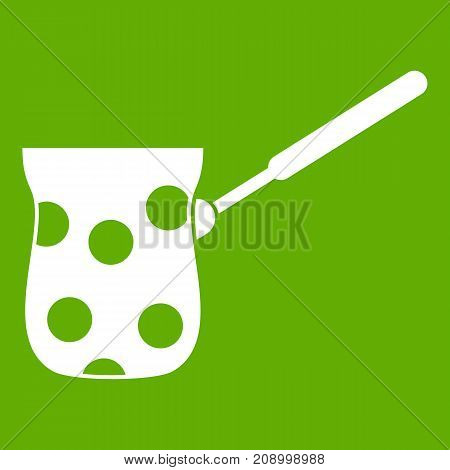 Cezve icon white isolated on green background. Vector illustration