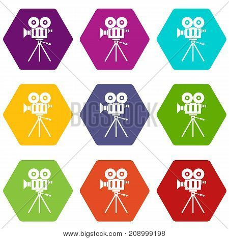 Camcorder icon set many color hexahedron isolated on white vector illustration