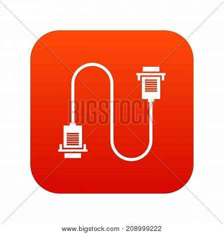 Cable wire computer icon digital red for any design isolated on white vector illustration