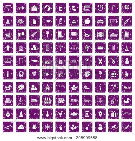 100 preschool education icons set in grunge style purple color isolated on white background vector illustration