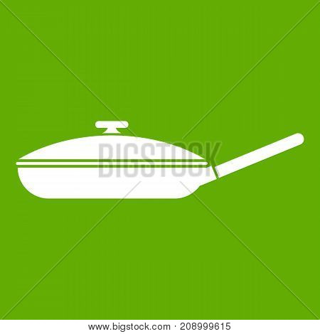 Black frying pan with white lid icon white isolated on green background. Vector illustration