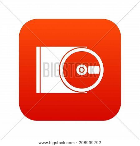DVD drive open icon digital red for any design isolated on white vector illustration