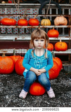 Portrait of cute adorable white Caucasian red-haired little girl child sitting on large pumpkin on farm outside. Fresh harvest. Thanksgiving Halloween concept
