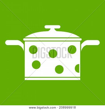 Saucepan with white dots icon white isolated on green background. Vector illustration