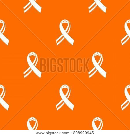 American ribbon pattern repeat seamless in orange color for any design. Vector geometric illustration