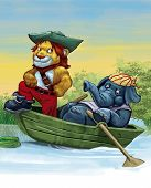 Captain lion with sailing with the elephant poster