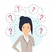 Young hipster business woman thinking standing under question marks. Vector flat cartoon illustration character icon. Business woman surrounded by question marks concept. Women think poster