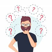 Young hipster business man thinking standing under question marks. Vector flat cartoon illustration character icon. Business man surrounded by question marks concept. Men think poster
