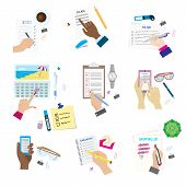 Agenda list concept vector illustration. Business paper clipboard in flat style. Self-adhesive notes color hand article. Make a Wishlist and shopping list. Plan to do just. poster