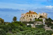 iew of the monastery of Chrisoskalitisa in the west of the island of Crete poster