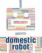 Domestic Robot Word Cloud Text Illustration. Robotics keyword tags isolated vector. Transparent. poster