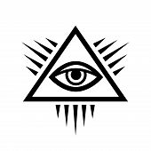 All-Seeing Eye of God (The Eye of Providence | Eye of Omniscience | Luminous Delta). Ancient Mystical Sacral Symbol of Illuminati and Freemasonry. poster