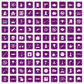 100 oppression icons set in grunge style purple color isolated on white background vector illustration poster