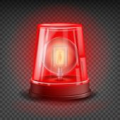 Red Flasher Siren Vector. Realistic Object. Light Effect. Beacon For Police Cars Ambulance, Fire Trucks. Emergency Flashing Siren. Transparent Background poster