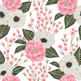 Seamless pattern with pink camellias, white anemone flowers and alstroemeria. Winter floral design for wedding invitation, wallpaper, print. Vintage hand drawn vector illustration in watercolor style