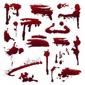 Blood splatters on isolated background. Set of grunge painting, ink spray on isolated background. Set of smears, splashes, drippings. Halloween concept. Abstract vector illustration, design elements.