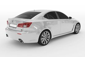 Car Isolated On White - White Paint, Tinted Glass - Back-right Side View