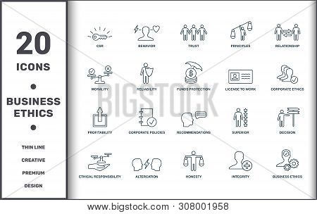 Business Ethics Icons Set Collection. Includes Creative Elements Such As Csr, Behavior, Trust, Princ
