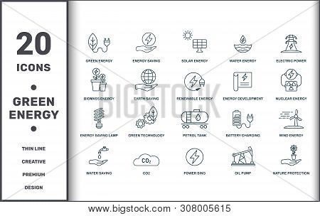 Power And Energy Icons Thin Line Set Collection. Includes Creative Elements Such As Green Energy, En