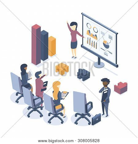 Isometric Vector Illustration. The Concept Of Business Training. Corporate Training. Seminar For Emp