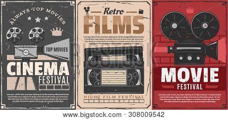Cinema Festival Of Retro Movie Vector Posters. Film Camera, Reel And Vintage Projector, Video Tape C