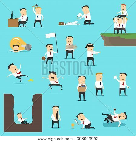 Business Failures Of Unsuccessful Businessman Vector Design. Sad And Shocked Men Get Fired, Giving U