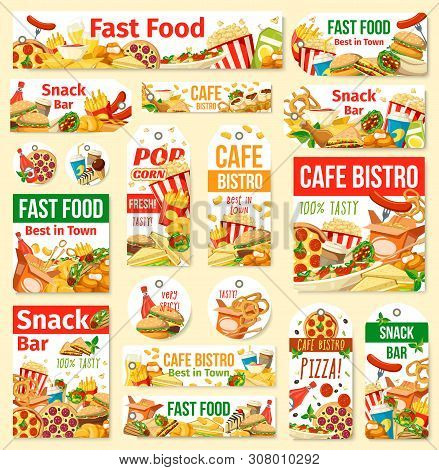 Fast Food Vector Tags With Junk Meal And Drink. Pizza, Hamburger And Hot Dog, Fries, Soda And Chicke