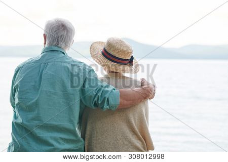 Peaceful and romantic senior couple in casualwear