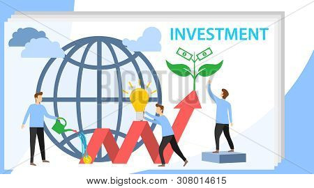 poster of Investing vector illustration. Growing money tree. Deposit profit and wealth growing business. Teamwork persons cultivate money to fund future business. Investment and finance growth business