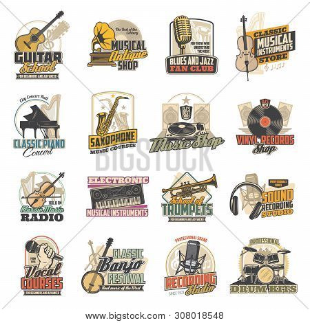Musical Instruments, Microphones And Sound Recording Studio Equipment Vector Icons. Guitar, Piano An