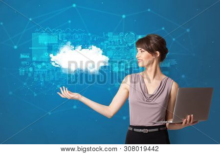 Young smiling person presenting cloud technology concept