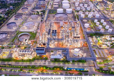 Aerial View Of Twilight Of Oil Refinery ,shot From Drone Of Oil Refinery Plant ,refinery Petrochemic