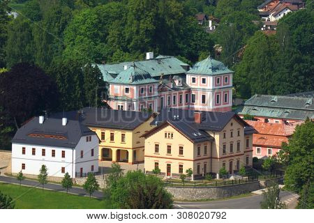 View from above at Sloup with castle in Czech Republic
