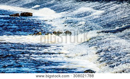 The Stream Of The River Shannon In The Town Of Athlone In The County Of Westmeath Ireland, Clean And