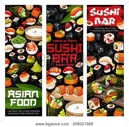 Sushi Rolls, Nigiri And Temaki Vector Menu Of Japanese Restaurant. Salmon Fish, Rice And Seaweed Mak