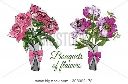 Collection Of  Bouquets Of Different Flowers. Hand Drawn Ink Sketch Of  Peony And Rose. Colored Obje