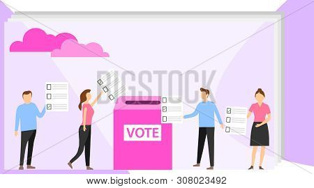 Vote, People Give Their Vote For The Candidate. People Vote. Vector Illustration