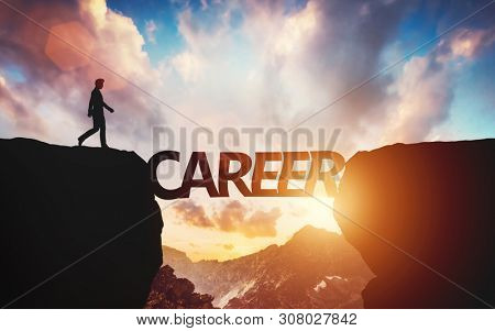 Career concept, taking the next step at work, promotion. Man about to walk on the other side of mountain on letters being a conceptual bridge. 3D illustration