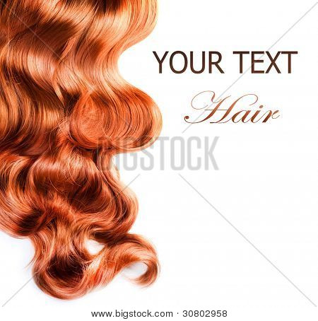 Curly Red Hair over white